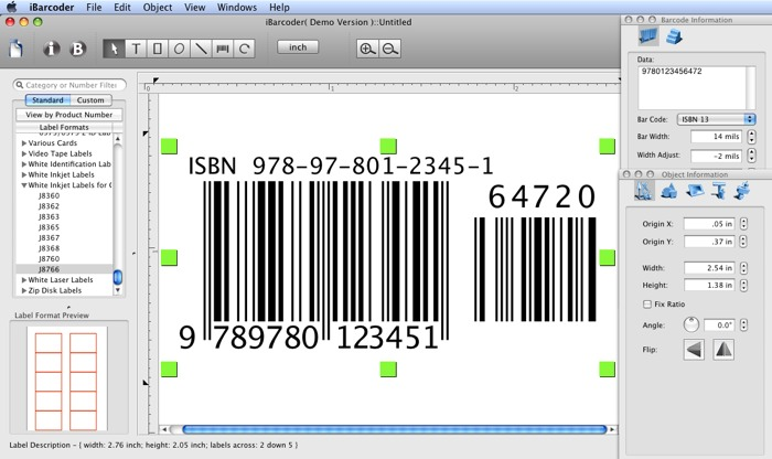 ISBN Barcode Generator screenshot image.