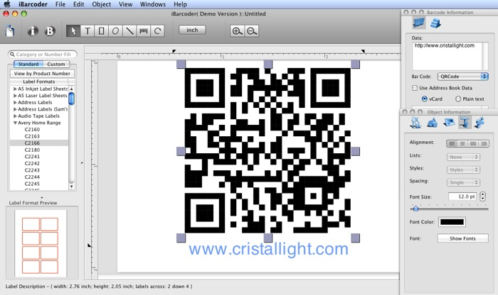 Cristallight Software - Mac QR Code Barcode Generator, ISBN, POSTNET