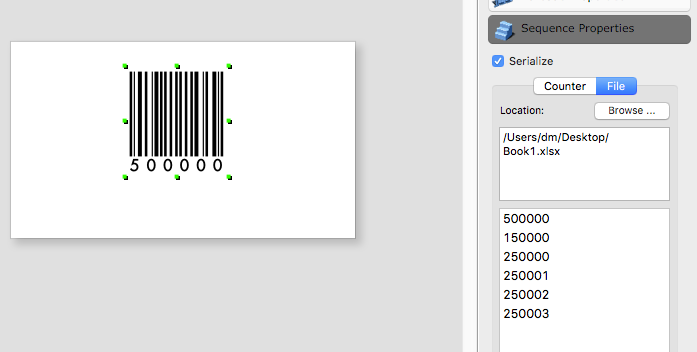 How to serialize barcode and text objects with excel data