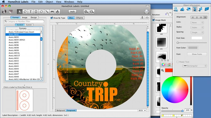 CD/DVD label designer that helps you to create CD/DVD labels using various built-in label formats